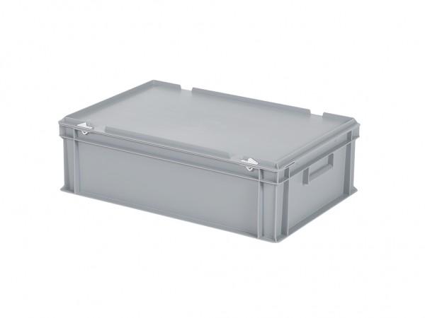 Stapelbehälter mit Deckel - 600x400xH185mm - Grau