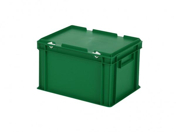 Stapelbehälter mit Deckel - 400x300xH250mm - Grün