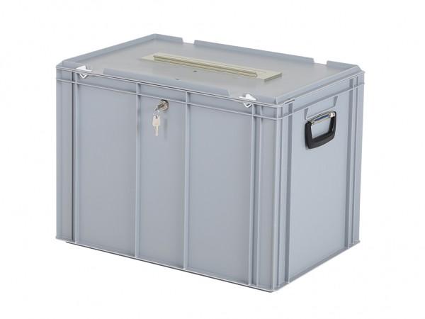 Wahlurne | Spendenbox mit Schloss und Briefeinwurf im Deckel - 600x400xH439 mm – Grau