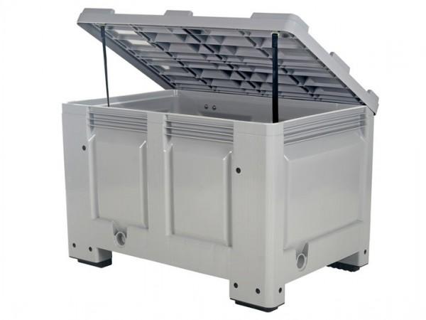 Streugutbehälter 1200x800 mm - Kunststoff Palettenbox mit Deckel - auf 4 Füßen