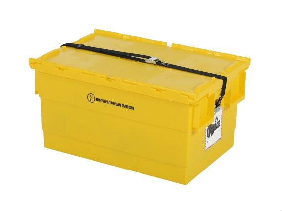 Mehrweg Sicherheitsbehälter für Lithium-Ionen Akkus – 600x400xH300mm - Gelb