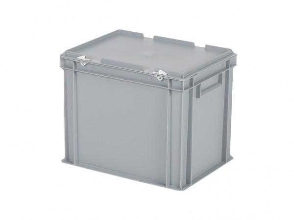 Stapelbehälter mit Deckel - 400x300xH335mm - Grau