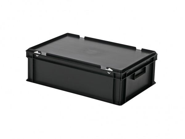 Stapelbehälter mit Deckel - 600x400xH185mm - Schwarz