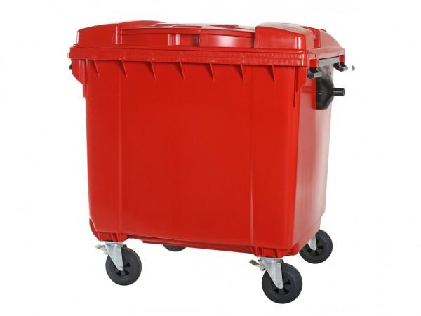 Müllcontainer 1100 Liter - 4 Räder - mit Flachdeckel - Rot