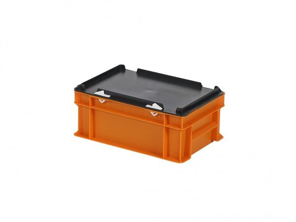 Stapelbehälter mit Deckel - 300x200xH133mm - Orange mit schwarzem Deckel