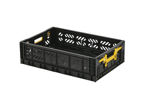 MULTIWAY Faltbehälter - 600x400xH156 mm - Schwarz - gelbe Handgriffe