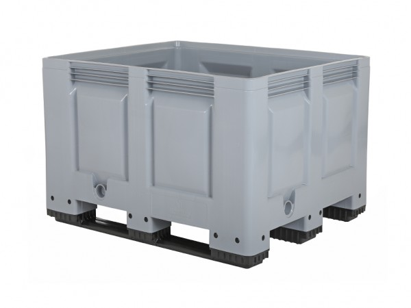 Kunststoff Palettenbox - 1200x800mm - auf 3 Kufen - Grau