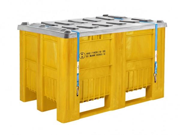Palettenbox - UN-Zulassung - 1200x800mm - 3 Kufen - Gelb