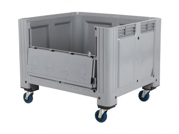 Palettenbox - 1200x1000mm - Scharnierklappe - Rollen - Grau