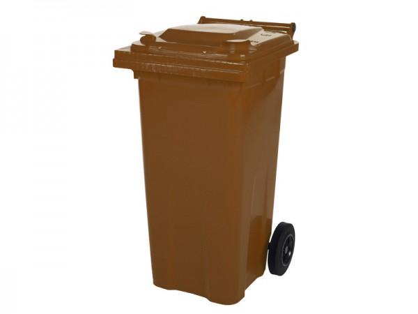 Mülltonne 120 Liter - Braun - 2 Räder - Wertstofftonne - Müllgroßbehälter