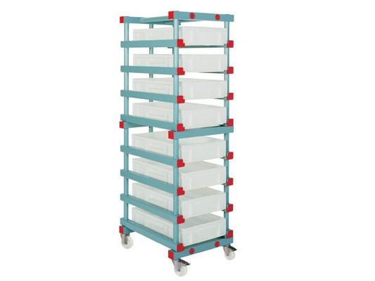 Kunststoff-Behälterwagen - 8 Einschubmöglichkeiten - Euronorm