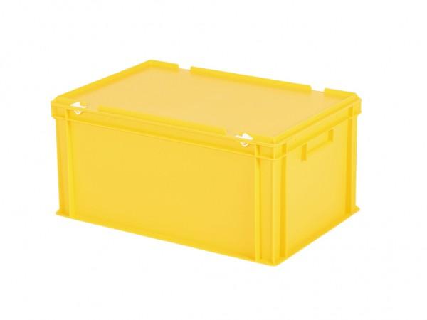 Stapelbehälter mit Deckel - 600x400xH295mm - Gelb