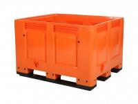Kunststoff Palettenbox - 1200x1000mm - 3 Kufen - Orange