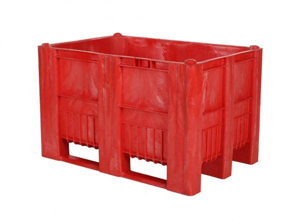 CB1 Kunststoff Palettenbox - 1200 x 800 mm - auf 3 Kufen - Rot