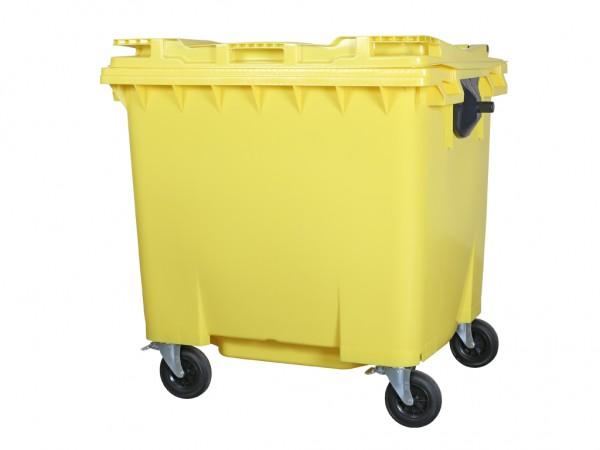 Müllcontainer 1100 Liter - 4 Räder - mit Flachdeckel - Gelb