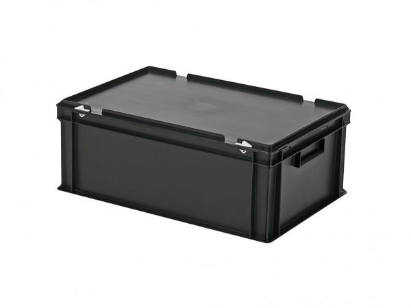 Stapelbehälter mit Deckel - 600x400xH235mm - Schwarz