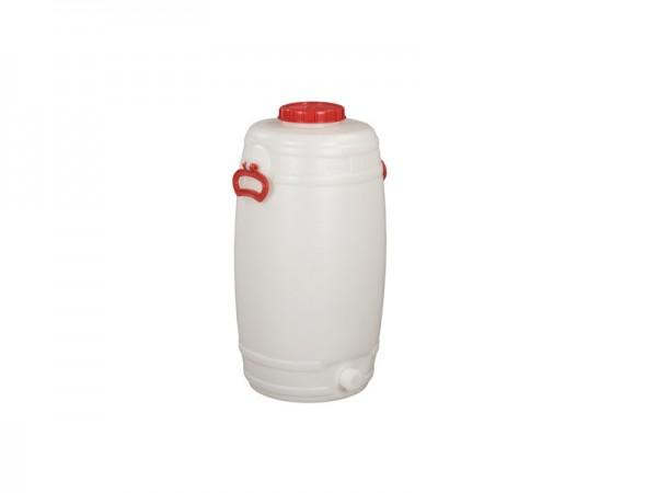 Fass aus Kunststoff mit Auslauf - 50 Liter - Naturweiß