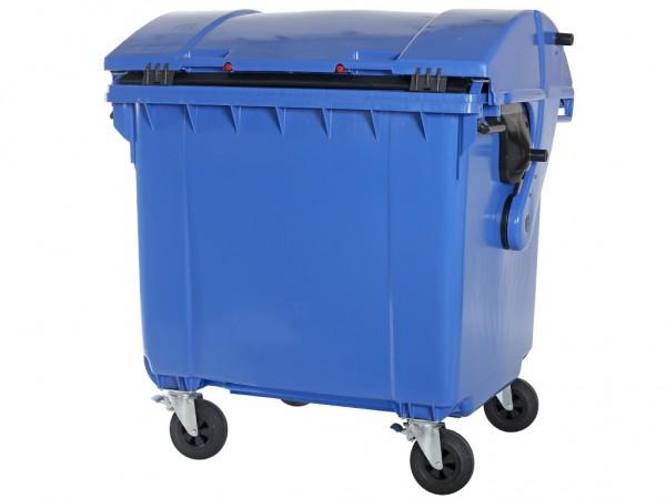 Müllcontainer 1100 Liter - 4 Räder - mit Schiebedeckel - Blau