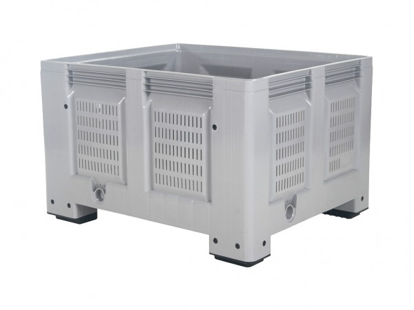 Palettenbox - 1200x1000mm - durchbrochen - 4 Füße - Grau