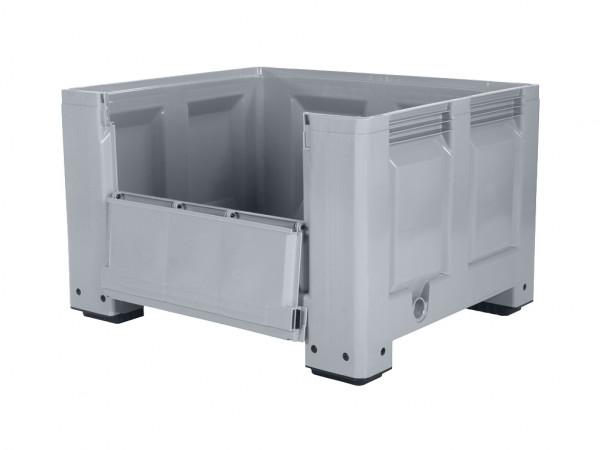 Palettenbox - 1200x1000mm - Scharnierklappe - 4 Füße - Grau