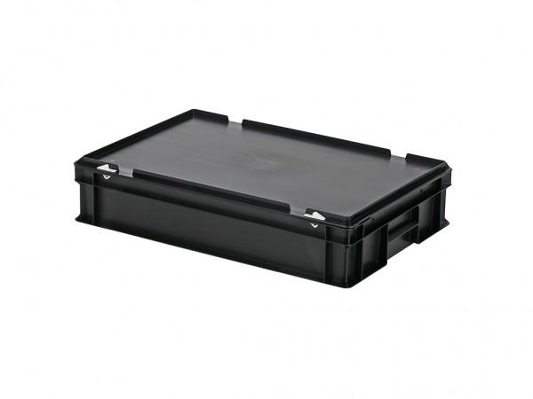 Stapelbehälter mit Deckel - 600x400xH135mm - Schwarz