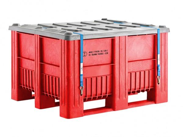 Palettenbox - UN-Zulassung - 1200x1000mm - 3 Kufen - Rot