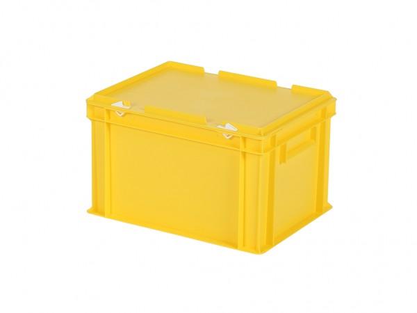 Stapelbehälter mit Deckel - 400x300xH250mm - Gelb