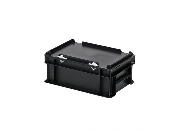 Stapelbehälter mit Deckel - 300x200xH133mm - Schwarz