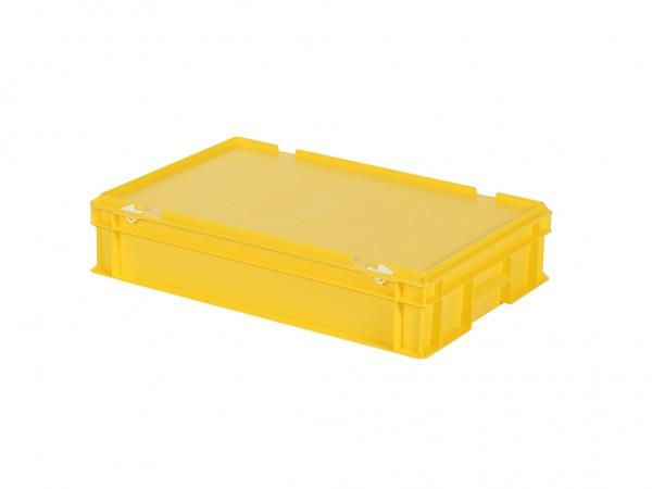 Stapelbehälter mit Deckel - 600x400xH135mm - Gelb