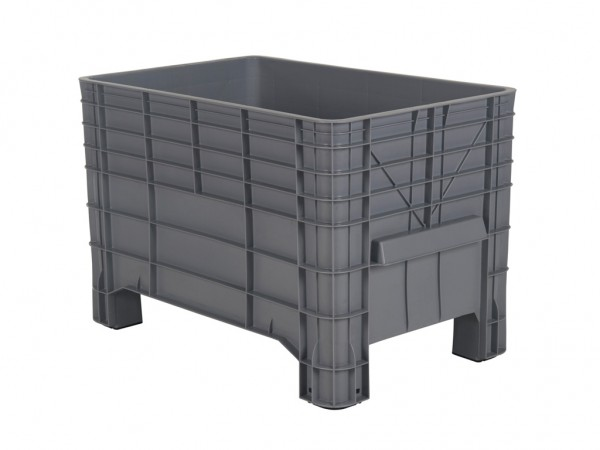 Kunststoff Palettenbox - 1040x640mm - auf vier Füßen - Grau