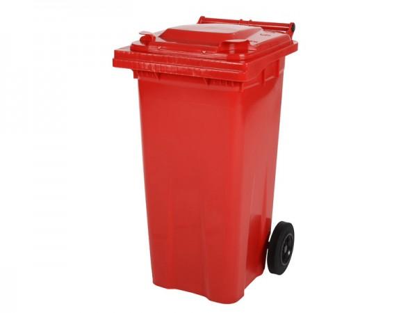 Mülltonne 120 Liter - Rot - 2 Räder - Wertstofftonne - Müllgroßbehälter