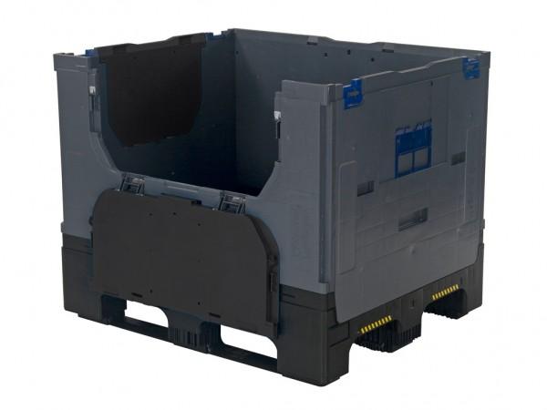 SALE - Faltbare Palettenbox - 1200 x 1000 x H 975 mm - mit 2 Ladeklappen - Dunkelgrau