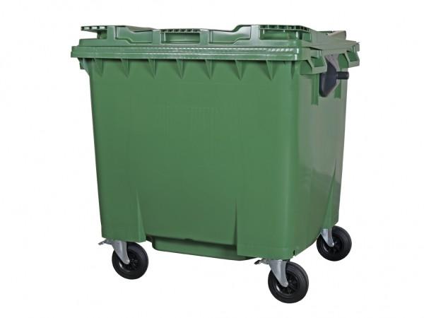 Müllcontainer 1100 Liter - 4 Räder - mit Flachdeckel - Grün