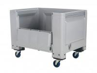 Palettenbox - 1200x800mm - Scharnierklappe - Rollen - Grau 4403.155.554