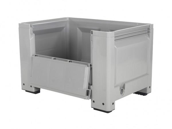 Kunststoff Palettenbox - 1200x800mm - Scharnierklappe - 4 Füßen - Grau