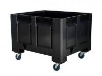 Kunststoff Palettenbox - 1200x1000mm - auf Rollen - Schwarz