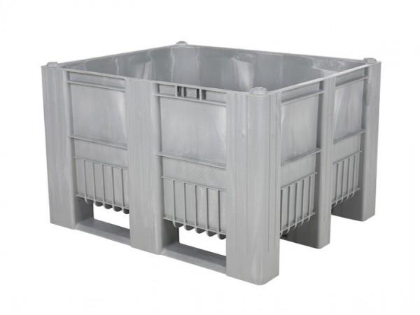 CB3 Kunststoff Palettenbox - 1200 x 1000 mm - auf 3 Kufen - Grau