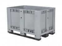 Kunststoff Palettenbox - 1200x800xH780mm - auf 3 Kufen - Grau 10.1089.C3T
