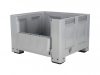 Kunststoff Palettenbox - 1200x1000mm - Scharnierklappe - 4 Füßen - Grau 4401.150.554