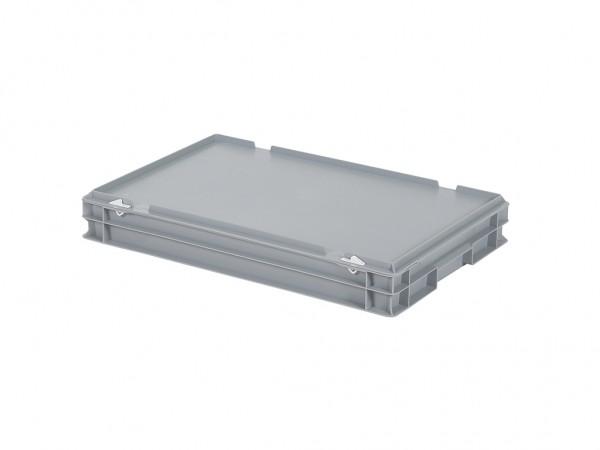 Stapelbehälter mit Deckel - 600x400xH90mm - Grau