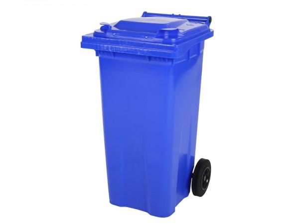 Mülltonne 120 Liter - Blau - 2 Räder - Wertstofftonne - Müllgroßbehälter