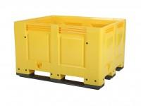Kunststoff Palettenbox - 1200x1000mm - 3 Kufen - Gelb