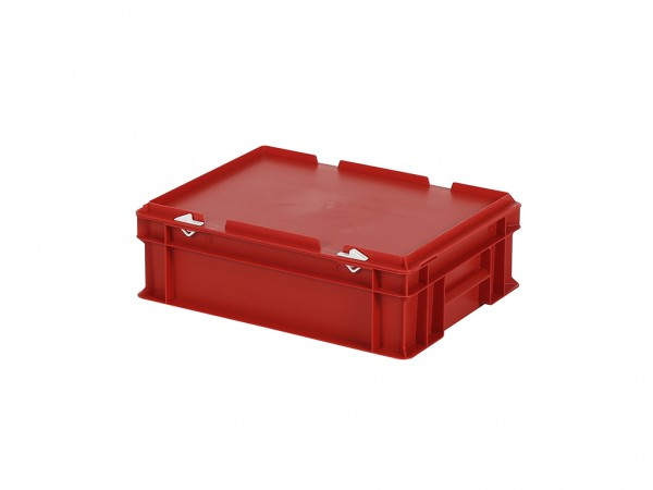 Stapelbehälter mit Deckel - 400x300xH133mm - Rot