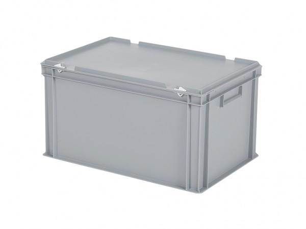 Stapelbehälter mit Deckel - 600x400xH335mm - Grau