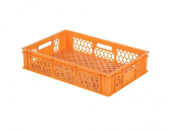Stapelbehälter 600x400xH130mm - durchbrochen - Orange - Bäckerkiste