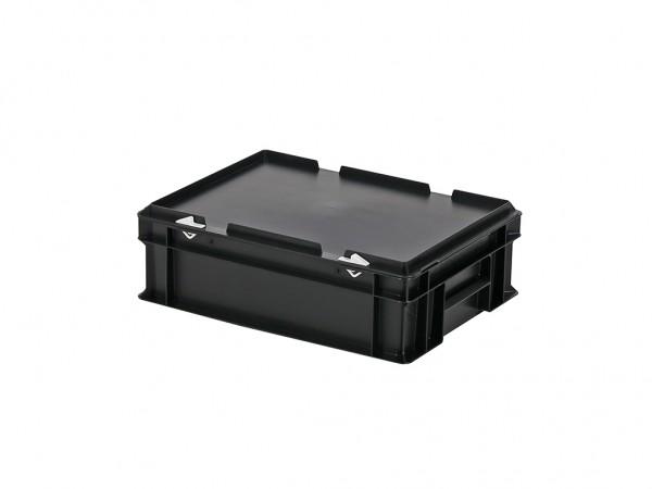 Stapelbehälter mit Deckel - 400x300xH133mm - Schwarz