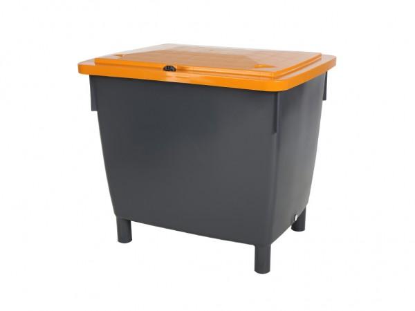 Streugutbehälter - 400 Liter - auf 4 Füßen - grau mit orangem Deckel