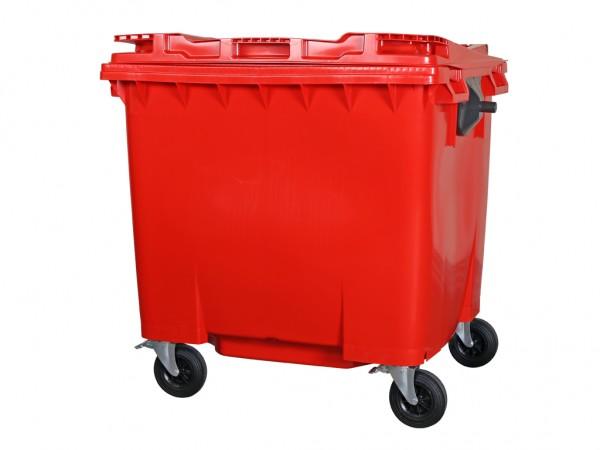 Müllcontainer - 1100 Liter - Flachdeckel - Rot