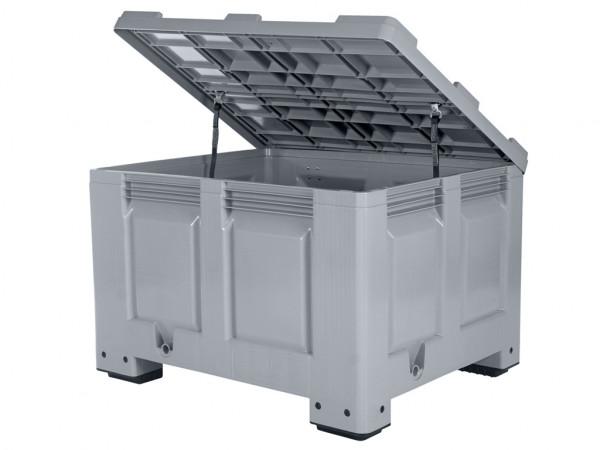Palettenbox mit Deckel - 1200x1000mm - 4 Füße - Grau - Grau