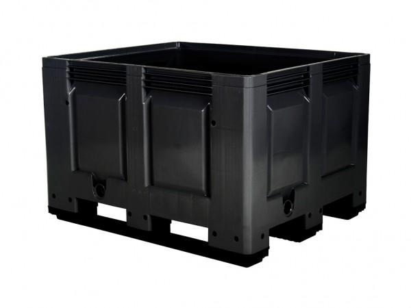Kunststoff Palettenbox - 1200x1000mm - 3 Kufen - Schwarz